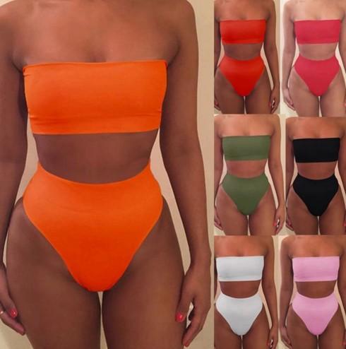 2019 Bikini mujer sexy Bikini Set Off Hombro Vendaje empuja hacia arriba Acolchado Traje de baño Traje de baño Ropa de playa Tamaño Pliquín biquini DHL libre