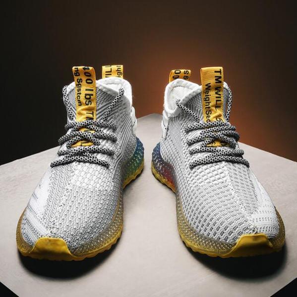 Özel fiyat ! ! ! 2019 yeni high-end moda erkek ayakkabıları dokuma uçan 4D renk jöle alt nefes rahat ayakkabı ücretsiz kargo 39-44 L24