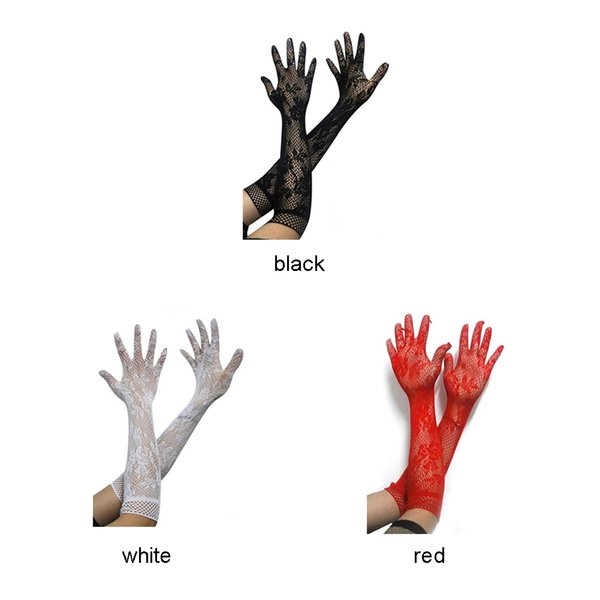 Sexy long gloves women black red white floral lace gloves mittens lace UV blocking Summer party Sunscreen Mittens