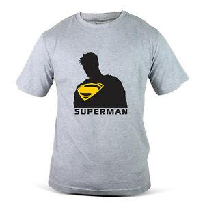 106-GY Print Man Of Steel Body Outline Superhero Wash Grey Mens Tee T-Shirt
