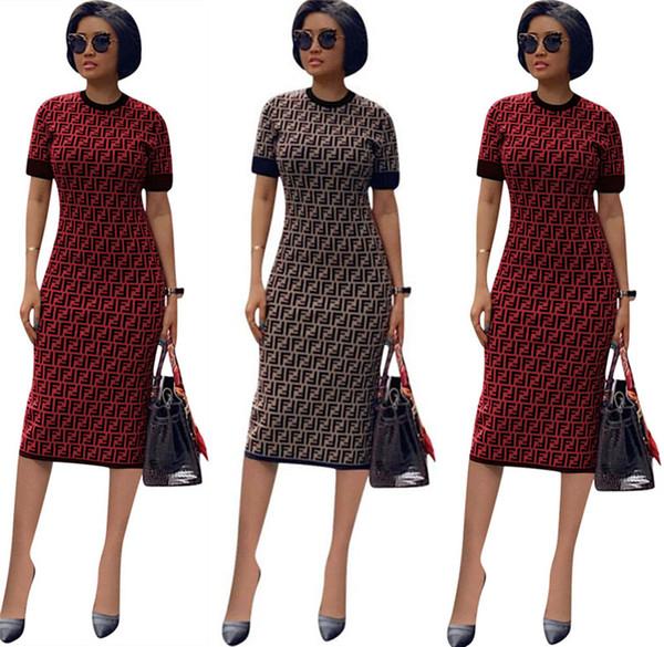 best selling Women FF Full Long Slim Dress Luxury Designer Summer Dresses Brand Short Sleeve Bodycon Skirt FENDS Womens Clothing Party Dresses C6501