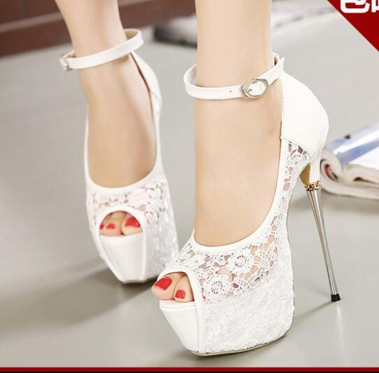 Hot! New Bridal White Lace Wedding Shoes Designer Shoes Ankle Strap 16CM Sexy Super High Heels prom dress shoes