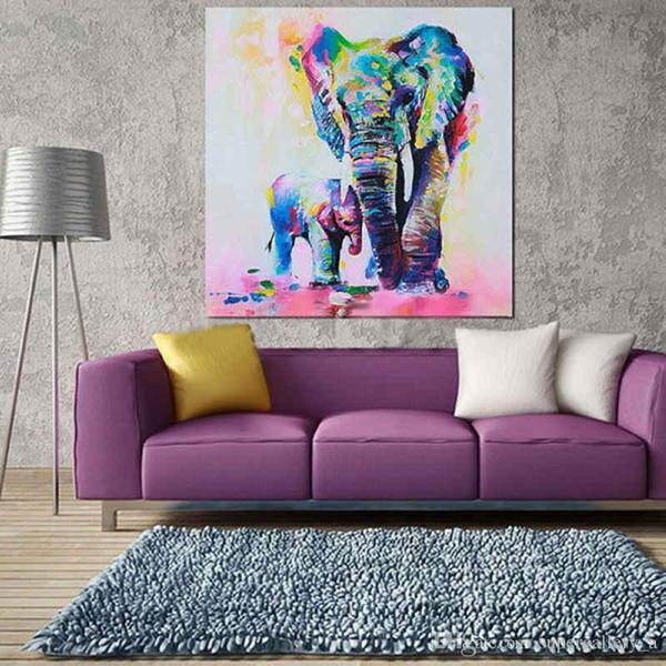 Éléphants encadrés, pur peint à la main moderne Home Decor mur peinture à l'huile Art animalier sur haute qualité Canvas.Multi tailles livraison gratuite A021