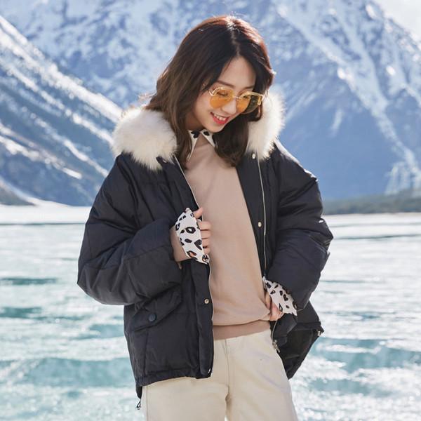 IEF Hiver style court Couleur unie Sweats à capuche Femmes Manteau de col de fourrure en vrac Vogue coton Manteau 0515A-D062-