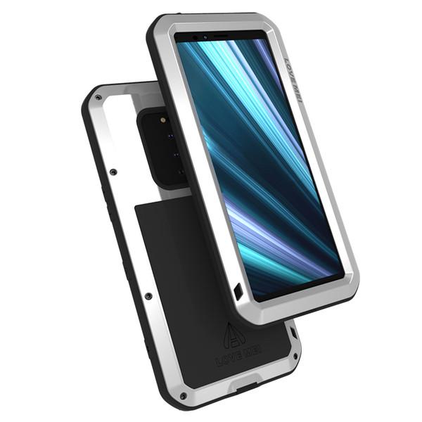 Gorrila Película de vidrio Funda de aluminio para armadura de metal para Sony Xperia 1 Funda resistente a prueba de golpes de cuerpo completo para Sony Xperia 1 Xperia XZ4