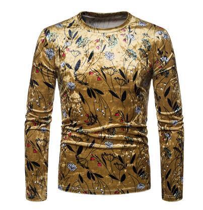 fashion punk slim sexy shirt men long sleeve Printed gold velvet shirt teenage korean mens personality stage singer dance