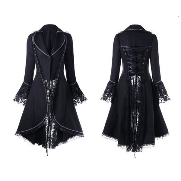 Women Vintage Gothic Long Sleeve Lace Stitching Velvet Tuxedo Jacket Medieval Aristocratic Ladies Vampire Dress Lolita Cosplay#6
