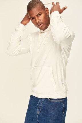 Ecru Men's Sweatshirt - Hooded Kangaroo Pocket Rib TMNAW19GM0040