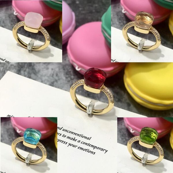 Exquisite Style Fashion Lady Brass Candy Color Faceted Crystal Gemstone Setting Diamond 18k Gold Plated Engagement Wedding Rings Size 6-9