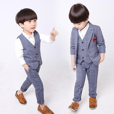 Sonbahar ve kış yeni erkek takım elbise Kore versiyonu / erkek ekose ceket yelek gömlek pantolon dört parça suit / erkek resmi elbise