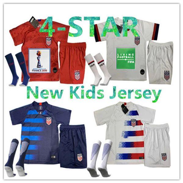 USA kits enfant 2019 PULISIC maillot de foot 18 19 20 DEMPSEY BRADLEY ALTIDORE WOOD Amérique enfant maillots de football enfant United States Shirt