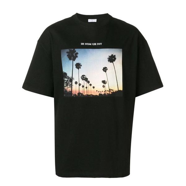 19SS IH NOM UH NIT PHOTO IMPRESSION GRAPHIQUE TÉ Palmier T-shirt De Planche À Roulette Mode Hommes Femmes Rue Casual Manches Courtes HFLSTX400