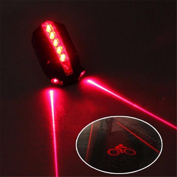 """LED Bicycle Bike Light Night 2 Laser+5 LED Rear Bike Bicycle Tail Light Beam """"bike logo""""Safety Warning Red Rear Lamp Waterproof #41393"""