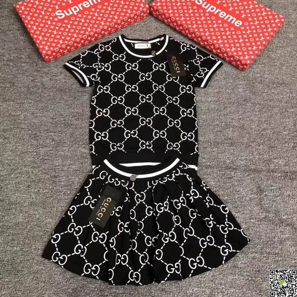 Girl Suit Summer Korean Children Dress Pure Cotton Short Sleeve Twinset New Pattern In Will Child Letter Stripe Dress baby clothing set 0324