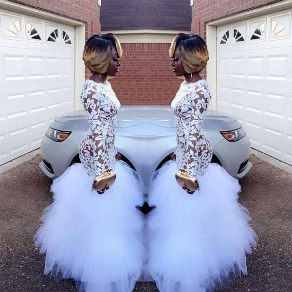 2019 Modern African White Mermaid Lace Prom Dresses for Black Girls Long Sleeve Tulle Floor Length Plus Size Evening Gowns Cheap Dress