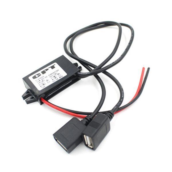 CPT Автомобильное Зарядное Устройство DC Преобразователь Модуль Адаптера 12 В К 5 В 3A 15 Вт Напряжение Понижения с Двойным USB A Кабель Micro USB EEA229