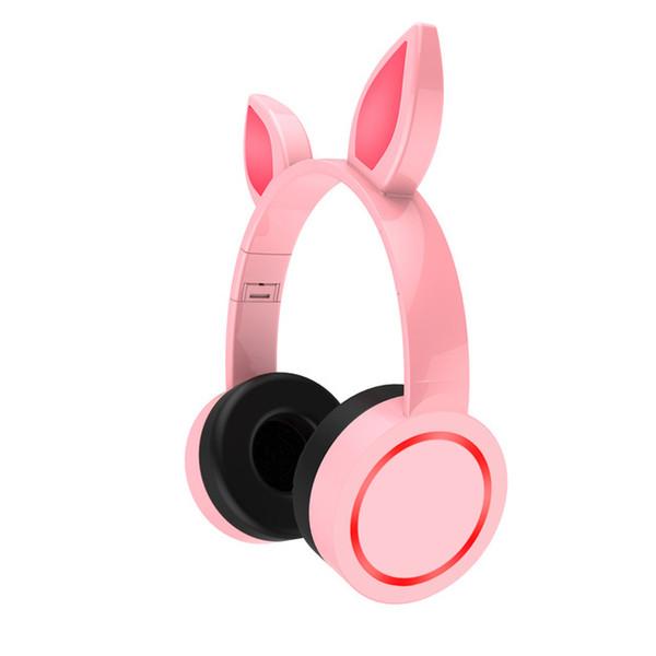 2019 Cat Ear Headphones Wireless Earphone Bluetooth 5.1 Headphone Flashing Glowing Headset With LED Light For Girls Kids Rabbit Ear
