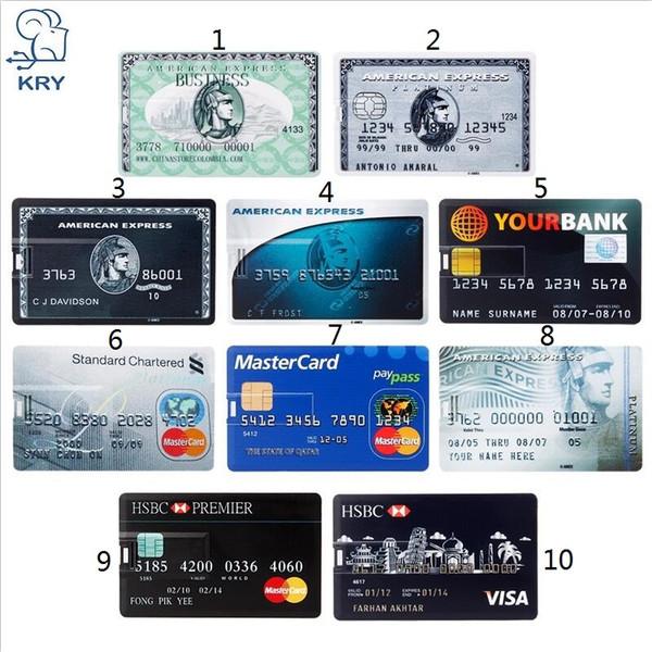 Cartão de Banco Real Capacidade Cartão de Memória USB HSBC Master cartão de Crédito USB Flash Drive 64 gb Pendrive 4 GB 8 GB 16 GB 32 GB pen drive 128 gb