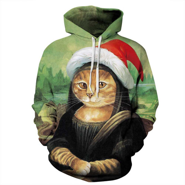 Autumn Winter Mens & Womens Hoodies Street Style Men Hooded Hoodie Christmas Dog and Cat Print Loose Couple Clothing Size S-5XL Wholesale
