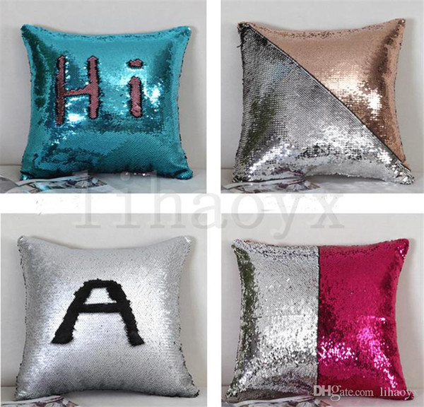 Sequin Mermaid Pillow Case Cover Throw Pillow Cover Bling Magic Reversible Glitter Sofa Cushion Car Cover Xmas Christmas Gifts D119