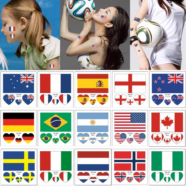6*6cm CE 2019 France Women's World Cup Top 24 Countries National Flag Temporary for Male Female Face Arm Tattoo Sticker Football Sports Game