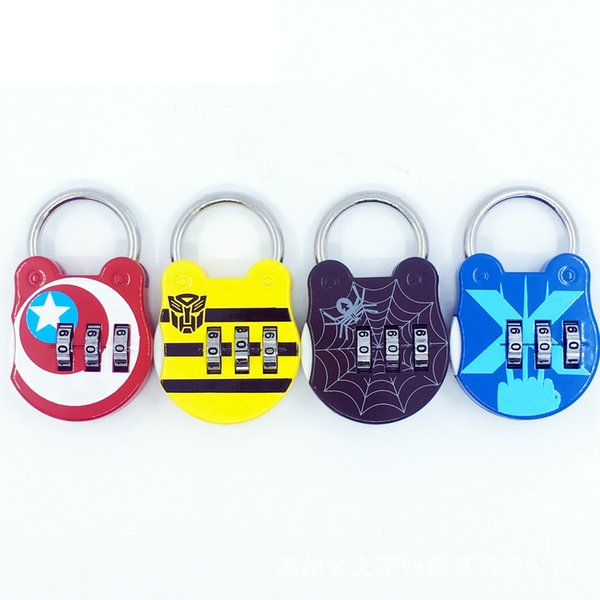 The avengers locks Code Number cartoon Padlock mini metal notebook Luggage Zipper Bag Backpack Handbag Suitcase Drawer protector FFA1759