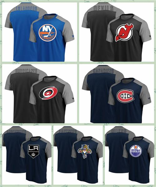 new product c20e6 c3260 New York Islanders New Jersey Devils Nashville Predators Los Angeles Kings  Edmonton Oilers Fanatics Branded Iconic Blocked T Shirt Super Cool T Shirts  ...