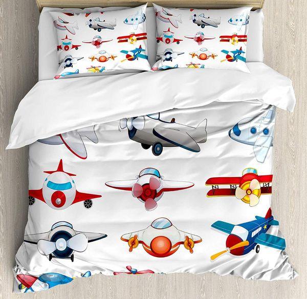 Airplane Decor Duvet Cover Set Queen Size Kind Planes Toys Amusement Automated Childhood Cartoon Machine 4 Piece Bedding Set