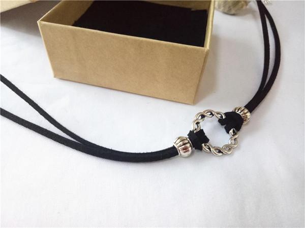 cecmic argento vintage ciondolo cerchio collana buban link catena choker con corda in pelle monili antichi che effettuano cessioni