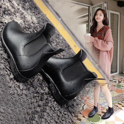 Femmes Rétro Jolies Bottines Bottes De Pluie Antidérapantes Chaussures D'eau Imperméables Femme Slip Mode Rainboots Wellies