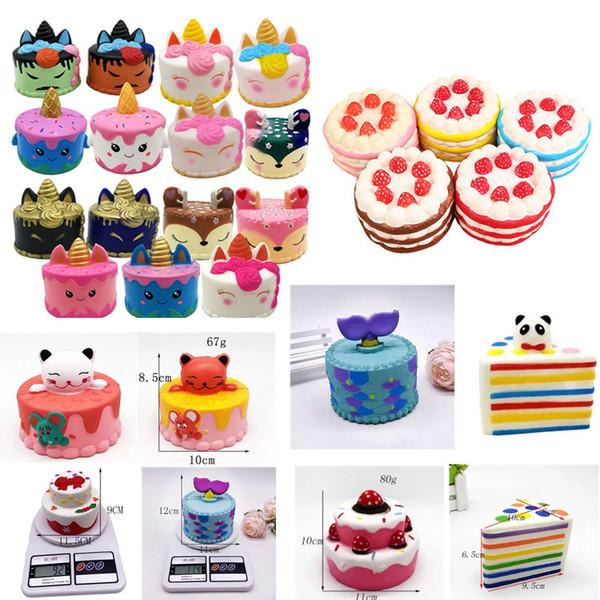 squishy CutePink unicorn Toys 8-12CM Colorful Cartoon Strawberry Unicorn Cake Tail Cakes Kids Fun Gift Squishy Slow Rising Kawaii Squishies
