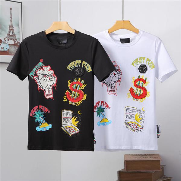 SS3 2019 baskı Philip katı renk T-shirt moda rahat spor serin O-Boyun erkek ayı T-shirt yaz kısa kollu erkek giyim M-3XL