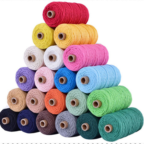 top popular 3mm 100% Cotton Cord 21colors Cord Rope Beige Twisted Craft Macrame String DIY Home Textile Wedding Decorative supply 110yards 2021
