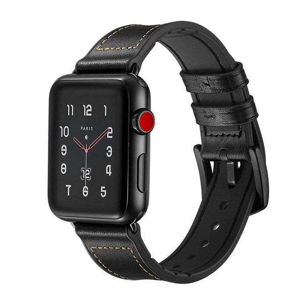 Genuine Leather Watch Band Strap Metal Buckle for Apple Watch Series 4 3 2 1 iWatch 38mm 40mm 44mm