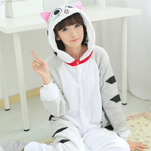 Costumes Accessories Cosplay Costumes Flannel Soft Cat Kigurumi Pajama for Adult Man Women Winter Warm Jumpsuit Anime Costume Onesie Cosplay