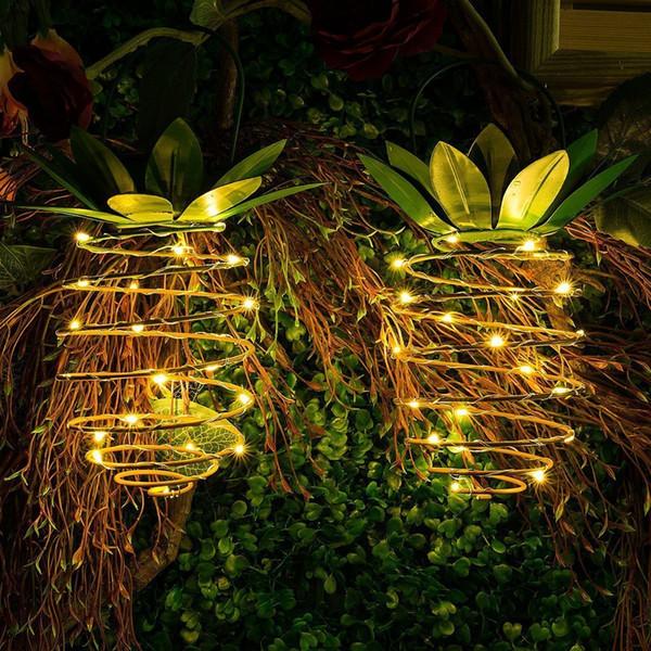 Chemin solaire extérieur imperméable de lumières d'ananas de jardin allume des lumières de fée accrochantes 25 décoration solaire menée chaude de fée de fée
