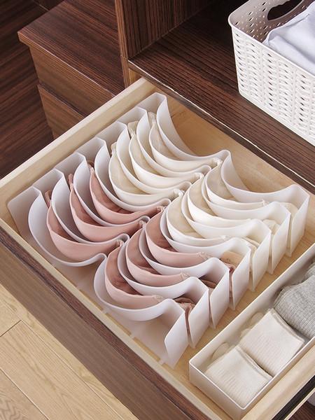 Closet Cabinet Underwear Storage Organizer Drawer Divider, Wardrobe Plastic Bra Storage Box for travel,home,6pcs/Set,White