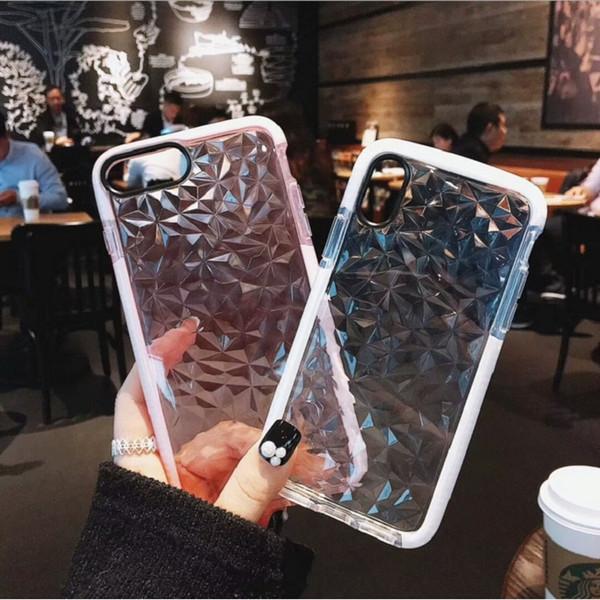 3D Алмазный Текстура Чехол Для IPhone XR XS MAX 6 6 s 7 8 Plus X Мягкий Телефон Обложка Роскошный Геометрический Прозрачный Ромб Ультра Тонкий Coque