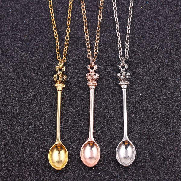 Bijoux en gros, Chaîne ,, or, argent, couronne de théière royale Alice Collier de tabac à priser Alice, couronne cuillère Collier pendentif dc188