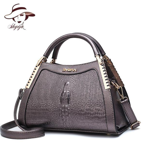 Модные женские сумки через плечо из кожи аллигатора Сумки через плечо с крокодилом Сумка для дамской сумочки с длинным рукавом и плечом T1 J190719
