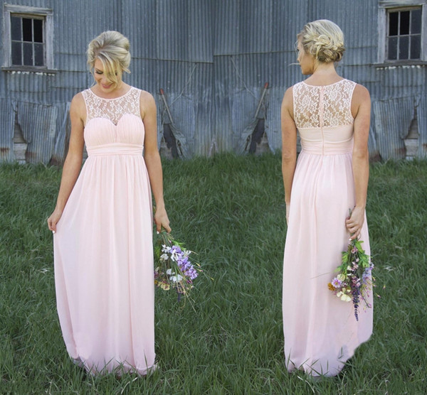 Country Style Pale Pink Sheer Crew Lace Neck Chiffon Pale Pink Bridesmaid Dress Illusion Back Maternity Long Maid Of Honor Dresses DH262