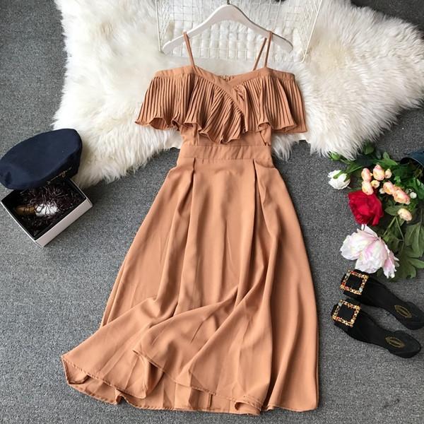 2019 Abito estivo donna coreano carino pieghettato abito scollato Boho Beach Party Dress Abiti donna chiffon Vestidos Midi 1662 MX19070401