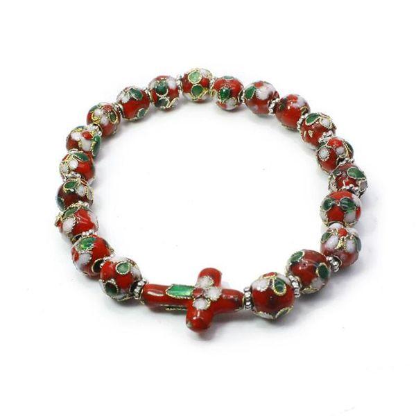Religious Hand-made Cloisonne Beads Elastic Cross Rosary Bracelet For Men Women