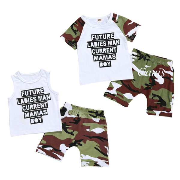 0-24m mother's day infant kid baby boy vest shorts camos pants outfit clothes baby set thumbnail