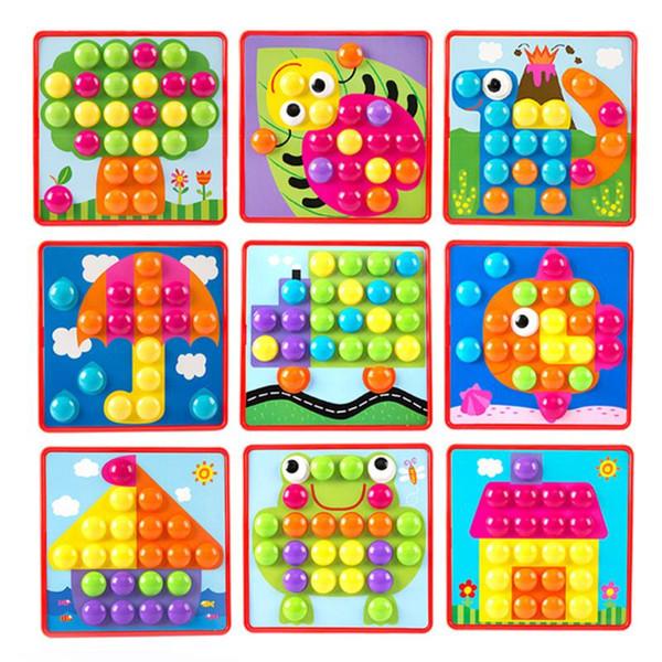 Quebra-cabeças 3D Brinquedos para Crianças Criativo Mosaico Cogumelo Kit de Unhas Botões de Montagem de Arte Crianças Enlightenment Brinquedos Educativos Mosaico