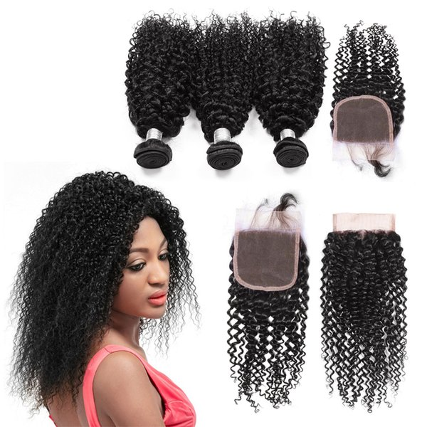 Beautiful Human Hair Weaving 8-30 inch 3 Pieces Kinky Curly Weave Hair Bundles With Closure Brazilian Human Hair With 4X4 Lace Closure