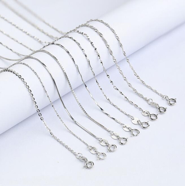 8 Kinds Fashion 925 Sterling Silver Necklace Clavicular Chain Temperament Girl Necklace Chunky Cross Chain For Women Birthday Jewelry Gifts