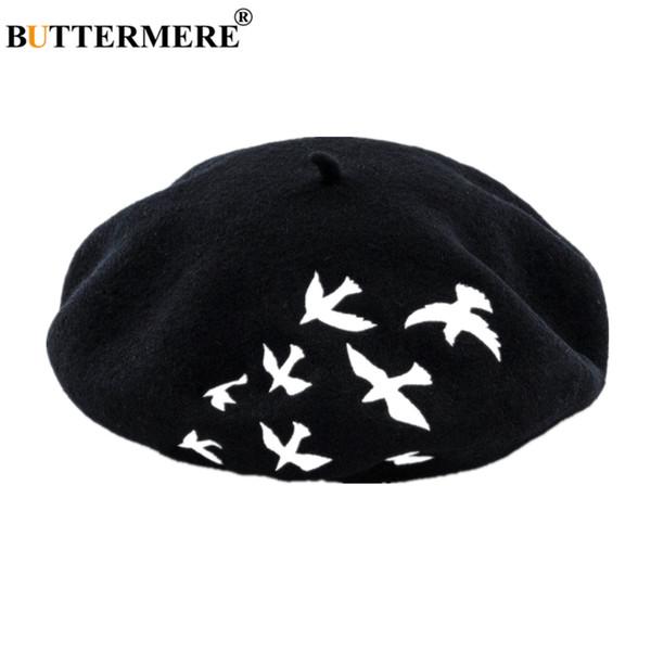 Buttermere 100% шерсть Французская Берет Женщины Птица Вышивка Шерстяной Женский Берет Черный Белый Розовый Серый Мода дамы Painter Hat