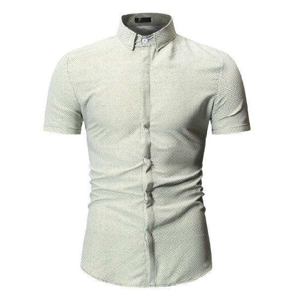 Short Sleeve Shirt 2019 Summer Men Dress Shirts Button Down Shirt Office Wear Slim Fit Tops Korean Clothes Fashion