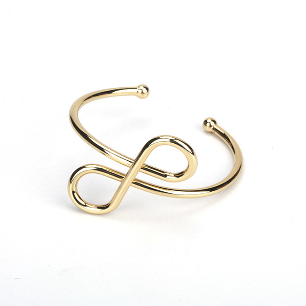 minimalist simple pure gold color metal infinity knot art charm adjustable bracelet open bangle for women hand jewelry